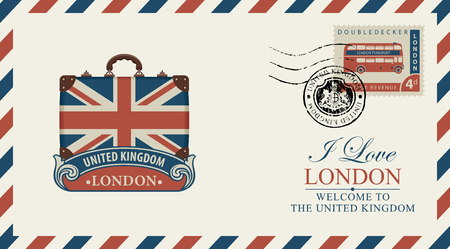 Postcard or envelope with suitcase in colors of UK flag and inscription I love London. Çizim