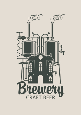 Banner for brewery and craft beer with a calligraphic inscription and image of house with barrels on the roof in retro style. Çizim
