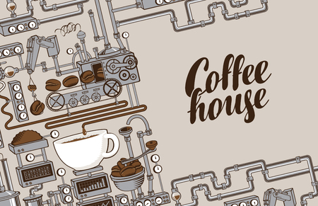 Vector banner on coffee theme with a cup of freshly brewed coffee, plant with conveyor coffee production and calligraphic inscription Coffee House in retro style. Decorative coffee maker Ilustração