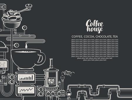 Banner de vector sobre tema de café con una taza de café recién hecho, planta con producción de café transportador, inscripción Coffee House y lugar para texto en estilo retro. Dibujar tiza en la pizarra Ilustración de vector