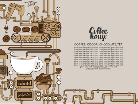 Vector banner on coffee theme with a cup of freshly brewed coffee, plant with conveyor coffee production, inscription Coffee House and place for text in retro style. Decorative coffee maker Ilustração