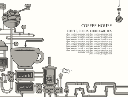 Vector banner on coffee theme with a cup of freshly brewed drink, plant with conveyor coffee production, inscription Coffee House and place for text in retro style. Decorative coffee maker