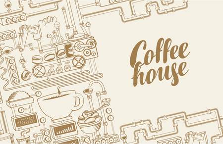 Vector banner on coffee theme with a cup of freshly brewed drink, plant with conveyor coffee production and calligraphic inscription Coffee House in retro style. Decorative coffee maker Ilustração
