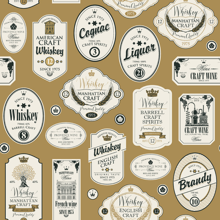 Seamless pattern with collage of labels for various alcoholic beverages in retro style