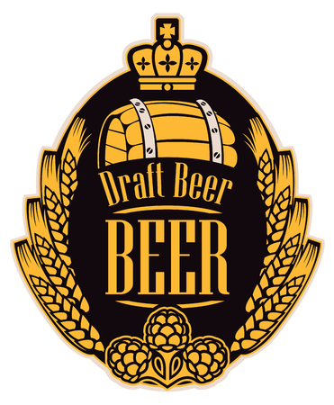 Template beer label with wheat or barley ears, hops, barrel and crown in oval frame.