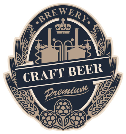 Template beer label with wheat or barley ears, hops, crown and with the image of the brewery in oval frame. Illustration