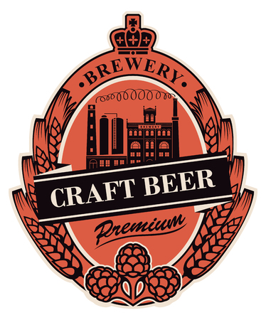 Template beer label with wheat or barley ears, hops, crown and with image of the building of the old brewery in oval frame.