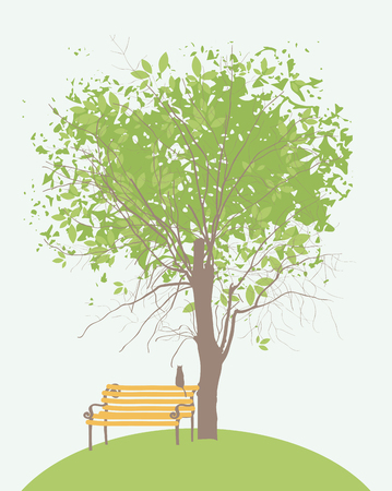 Vector banner or greeting card on the spring theme. Spring landscape with a lonely cat on the bench under green tree Illustration
