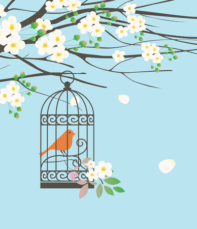 Vector spring banner or greeting card with a bird in a cage hanging on the branches of a flowering tree with white buds and flowers on the background of blue sky. Illustration