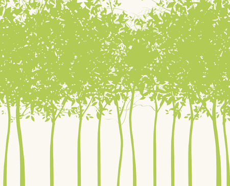 Vector illustration on a spring theme. Background in the form of silhouettes of young green trees. Green grove