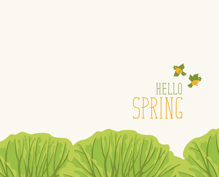 Vector spring banner or greeting card with words Hello Spring. Spring landscape with green tops of the trees and birds in the park