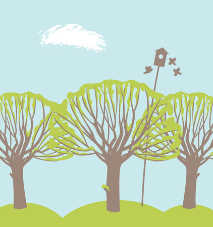 Vector spring landscape with green trees, birds and birdhouse on the background of blue sky. Green grove Illustration