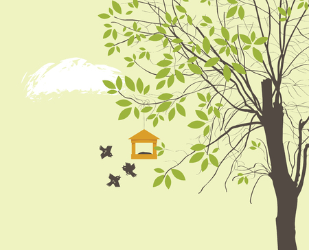 Vector banner or illustration on the spring theme. Spring landscape with green tree, birds and bird feeder