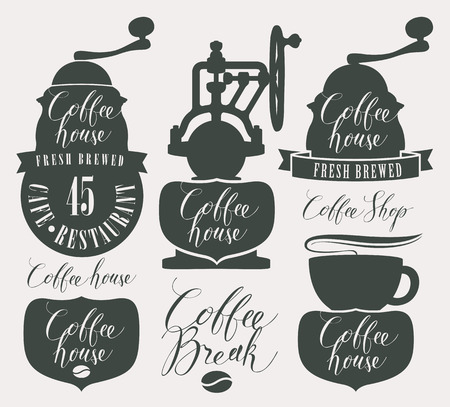 Set of design elements and symbols for coffee house with coffee