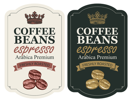 Set of labels for freshly roasted coffee beans.