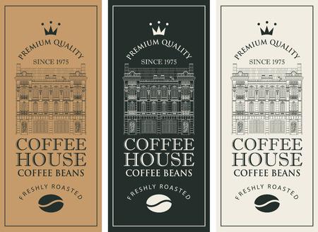 Lot d'étiquettes de café.
