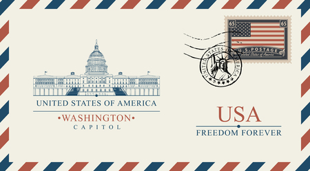 Vector postcard or envelope with famous Washington Capitol building and inscriptions. Postcard with postmark with statue of liberty and postage stamp with flag of USA 일러스트
