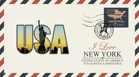 Vector postcard or envelope with letters USA with New York skyline, Statue of Liberty and inscriptions. Illustration