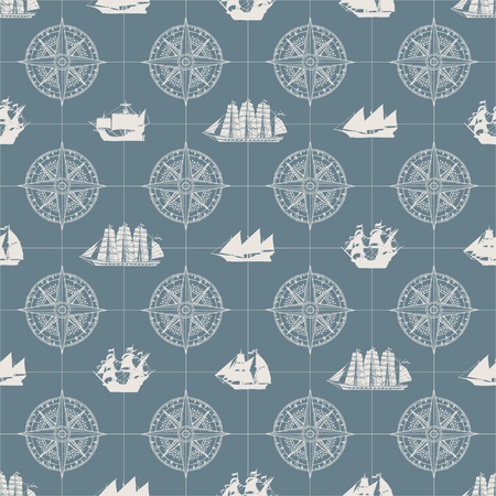 Vector seamless pattern on the theme of nautical travel, adventure and discovery. Wind roses and various sailing ships in retro style on a grey background