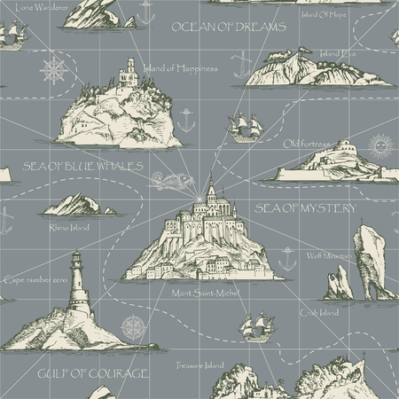 Vector abstract seamless background on the theme of travel, adventure and discovery. Old hand drawn map with islands, lighthouses, sailboats and inscriptions in retro style Illustration