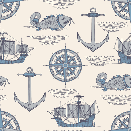 Vector abstract seamless background on the theme of travel, adventure and discovery. Old caravels, vintage sailing yachts, wind roses, anchors and giant catfishes in retro style. Ilustração