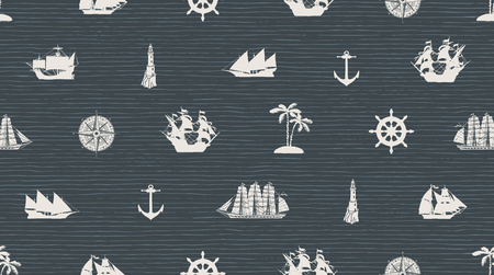 Vector seamless background on the theme of sea travel with different sailing ships, compass, anchor, steering wheel and others. Cute sea objects on the dark striped background in retro style
