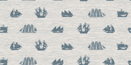 Vector seamless background on the theme of sea travel with various sailing ships. Sea objects on the striped background in retro style