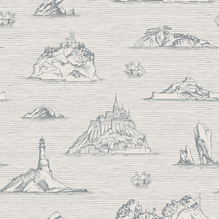 Vector abstract seamless background on the theme of travel, adventure and discovery. Old hand drawn map with islands, lighthouses and sailboats in retro style