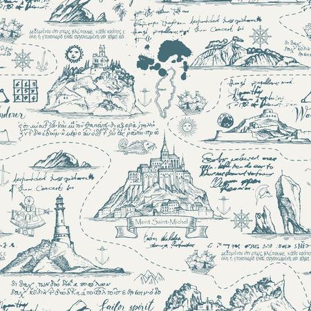 Vecteur abstrait sans couture sur le thème du voyage, de l'aventure et de la découverte. Vieux manuscrit avec des îles, des phares, des voiliers et des symboles nautiques avec des taches d'encre et des taches de style vintage Vecteurs