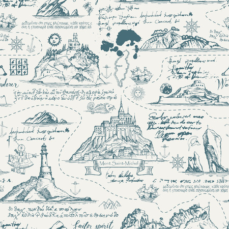 Vector abstract seamless background on the theme of travel, adventure and discovery. Old manuscript with islands, lighthouses, sailboats and nautical symbols with ink blots and stains in vintage style