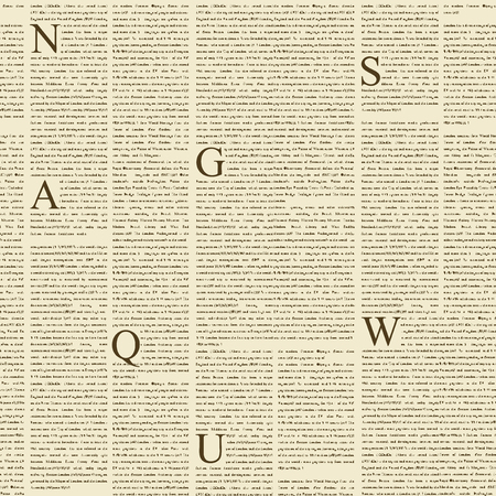 Vector seamless pattern with newspaper columns. Text in newspaper page unreadable. Old newspaper with black text, repeating newspaper vector background.