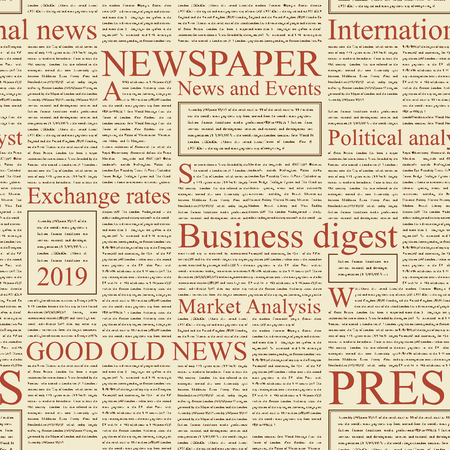 Vector seamless pattern with newspaper columns. Text in newspaper page unreadable. Old newspaper with black text, repeating newspaper vector background with red headings. Illustration