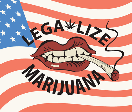 Vector banner with words Legalize marijuana with a human mouth with a joint or a cigarette in his teeth on the background of american flag. Smoking weed. Drug consumption Vettoriali