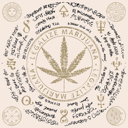 Vector banner for Legalize marijuana with cannabis leaf, magical inscriptions and symbols on abstract background of illegible manuscript. Natural product made from organic hemp. Smoking weed