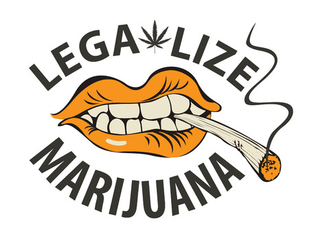 Vector banner with words Legalize marijuana with a human mouth with a joint or a cigarette in his teeth. Smoking weed. Drug consumption Ilustrace