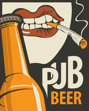 Vector banner for beer pub. Flat illustration in retro style with bottle of beer and human mouth with a cigarette in his teeth Banque d'images - 118853330