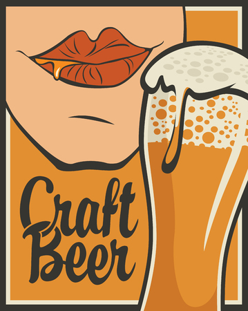 Vector banner on the theme of beer in retro style with calligraphic inscription Craft beer. Flat illustration with overflowing glass of frothy beer and mouth savoring beer Çizim