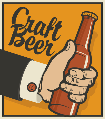 Vector banner on the theme of beer in retro style with calligraphic inscription Craft beer. Illustration of a mans hand with a beer bottle on the amber background