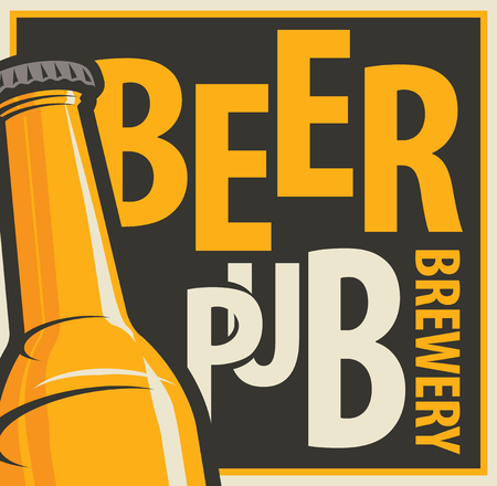 Vector label or banner for beer pub and brewery, with beer bottle in retro style