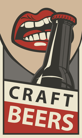 Vector banner for with words Craft beers. Flat illustration in retro style with the mouth opening a beer bottle with your teeth