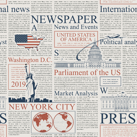 Vector seamless pattern with american newspapers columns. Text on newspaper page is unreadable. US newspaper with blue and red text, repeating newspaper background with headlines and illustrations. Illustration