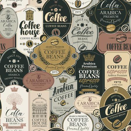 Reticolo senza giunte sul tema caffè e caffè con collage di varie etichette in stile retrò. Può essere usato come carta da parati o carta da regalo Vettoriali