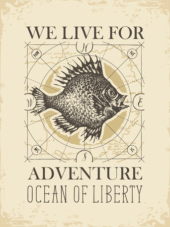 Vector banner with big hand-drawn fish on the background of old map in retro style. Illustration on the theme of travel, adventure and discovery with words We live for adventure