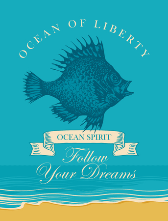 Vector banner with big hand drawn fish and inscription Follow your dreams. Illustration on the theme of travel, adventure and discovery on the background of seascape with beach and sea