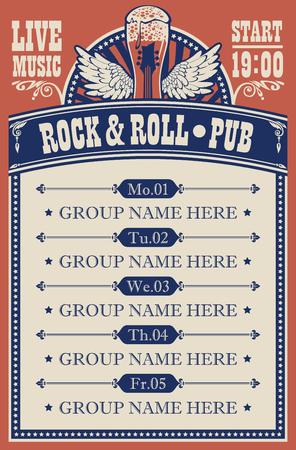 Cartel para pub de rock and roll con música en vivo con vaso de cerveza, guitarra y alas.