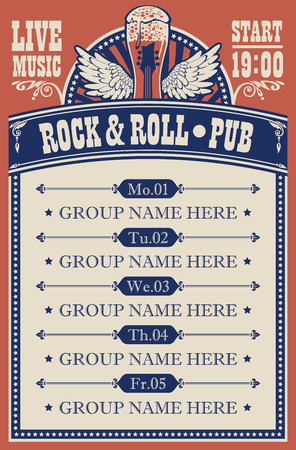 Poster for music rock and roll pub with live music with beer glass, guitar and wings.