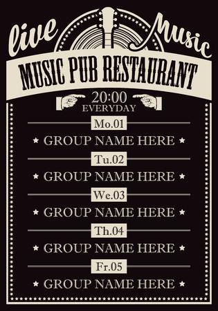 Cartel para el restaurante pub musical con música en vivo con imagen de guitarra.