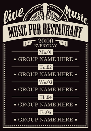 Poster for the music pub restaurant with live music with image of guitar.