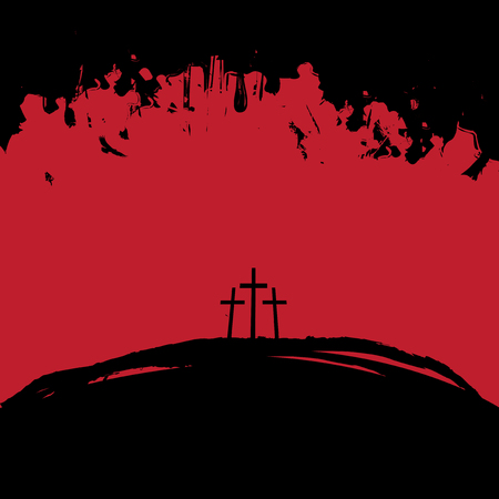 Christian theme with three crosses on Mount Calvary in black and red colors on abstract grunge