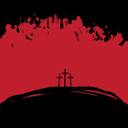 Christliches Thema mit drei Kreuzen auf dem Kalvarienberg in schwarzen und roten Farben auf abstraktem Grunge